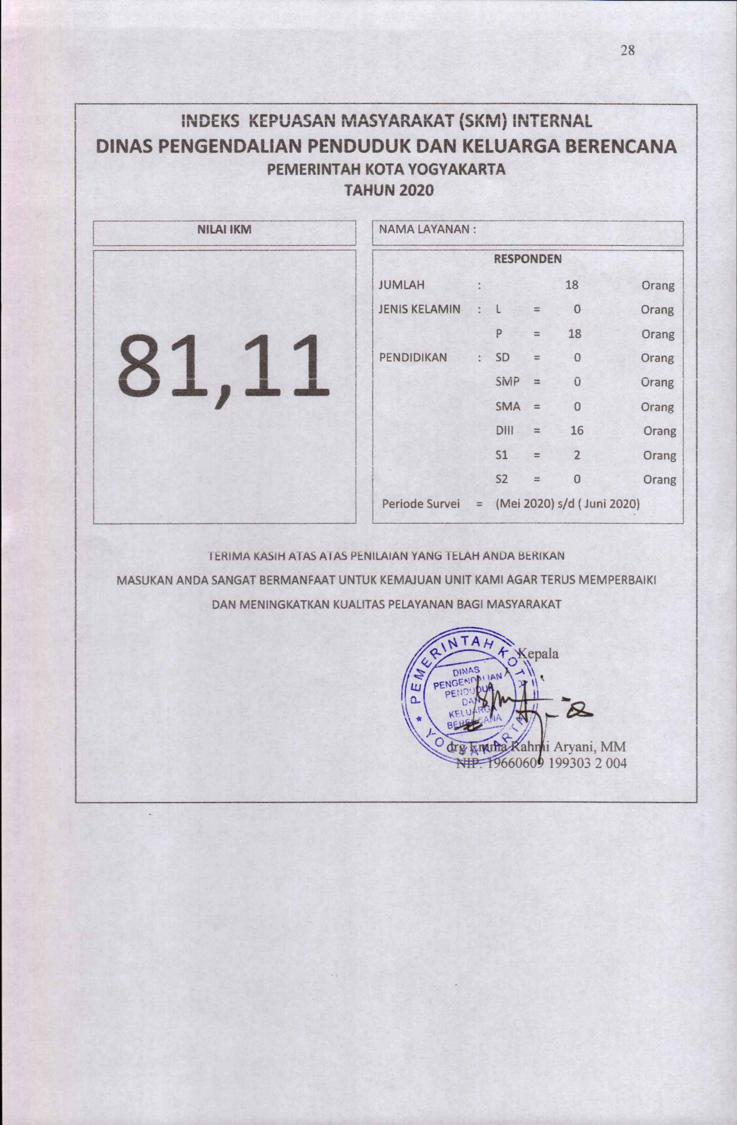 Indeks Kepuasan Masyarakat ( SKM ) Internal DPPKB Kota Yogyakarta