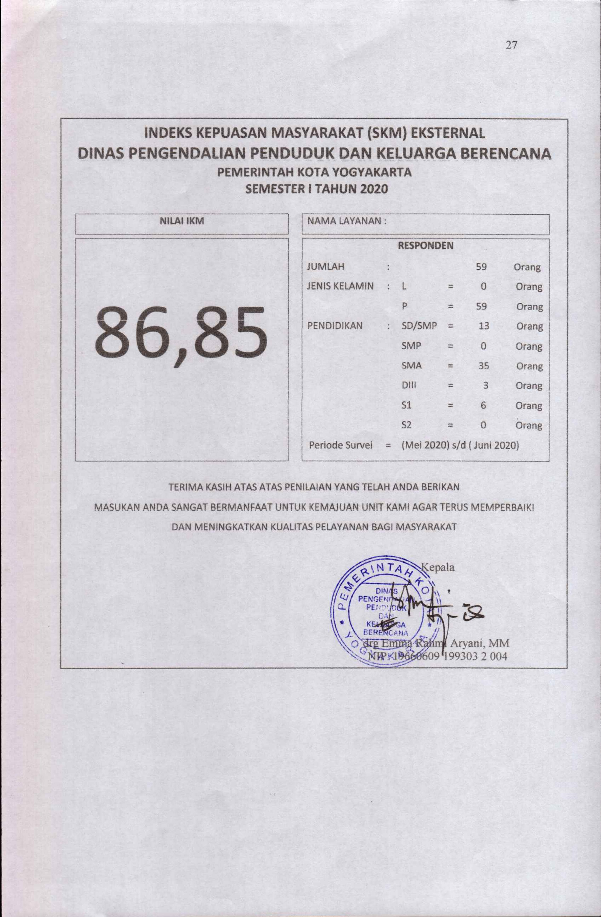 Indeks Kepuasan Masyarakat ( SKM ) Eksternal DPPKB Kota Yogyakarta
