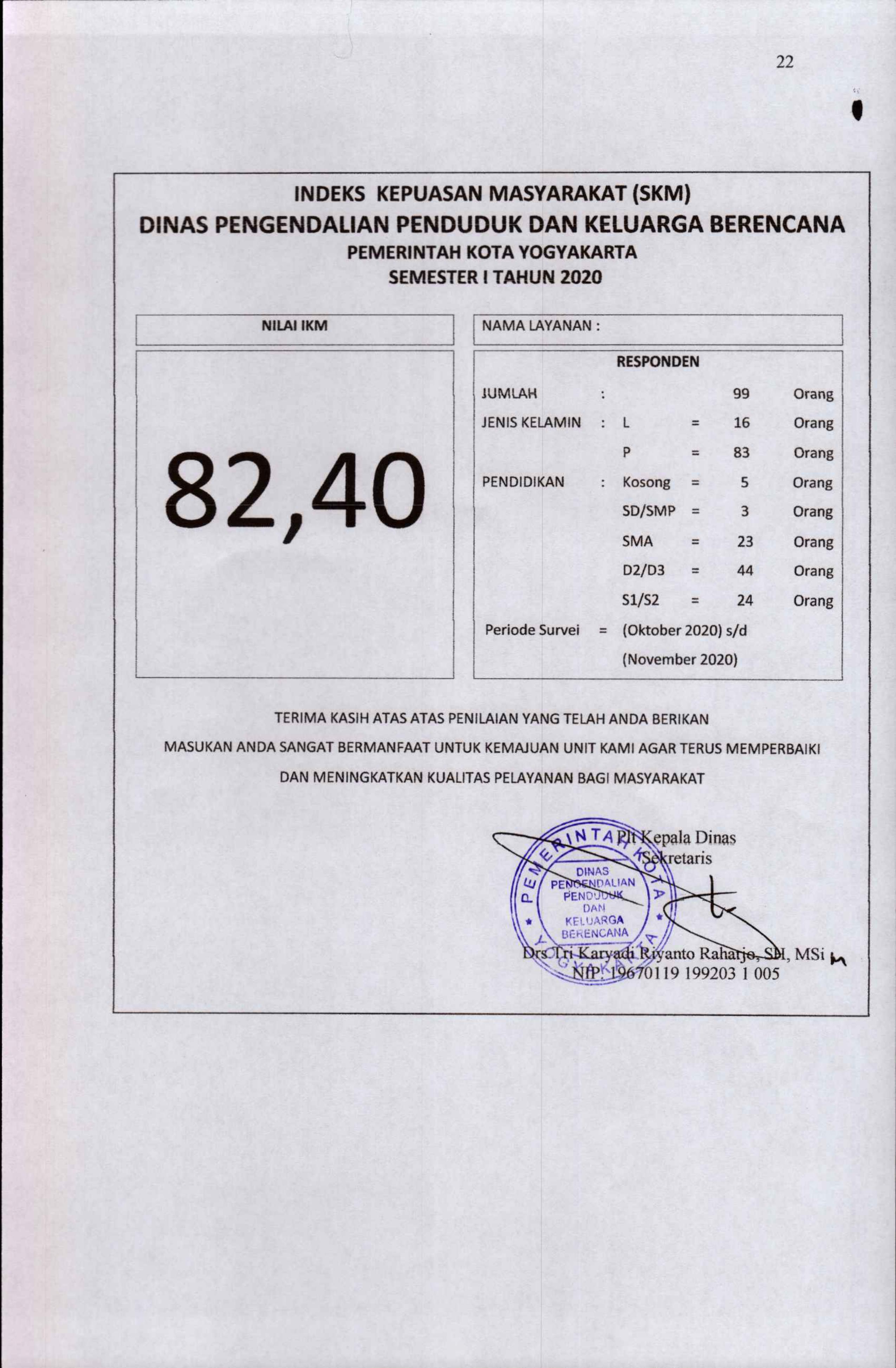 Indeks Kepuasan Masyarakat Semester II Tahun 2020 DPPKB Kota Yogyakarta